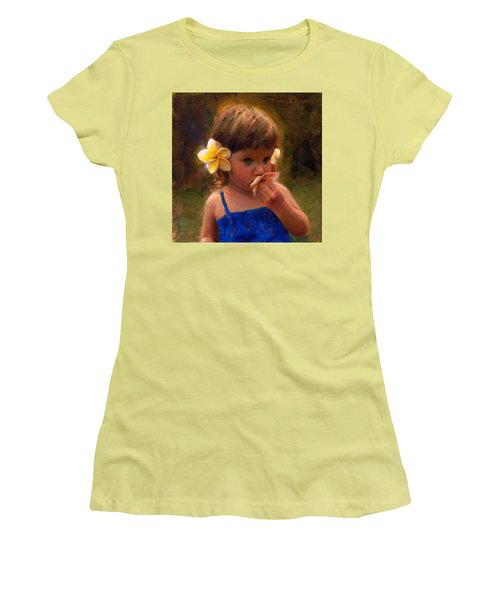 Flower Girl - Tropical Portrait With Plumeria Flowers Women's T-Shirt (Athletic Fit)