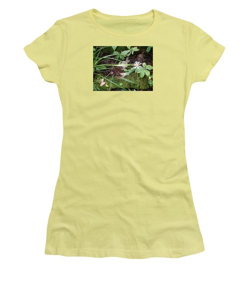 Flower In The Woods Women's T-Shirt (Junior Cut) by Robert Nickologianis