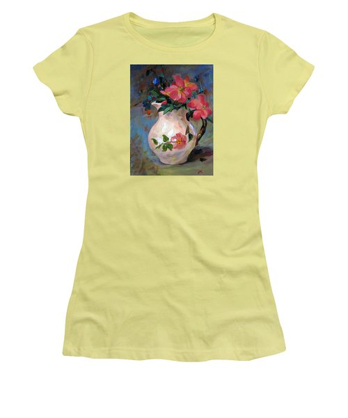 Women's T-Shirt (Junior Cut) featuring the painting Flower In Vase by Jieming Wang