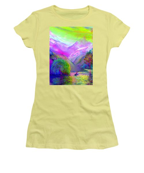 Women's T-Shirt (Junior Cut) featuring the painting  Love Is Following The Flow Together by Jane Small