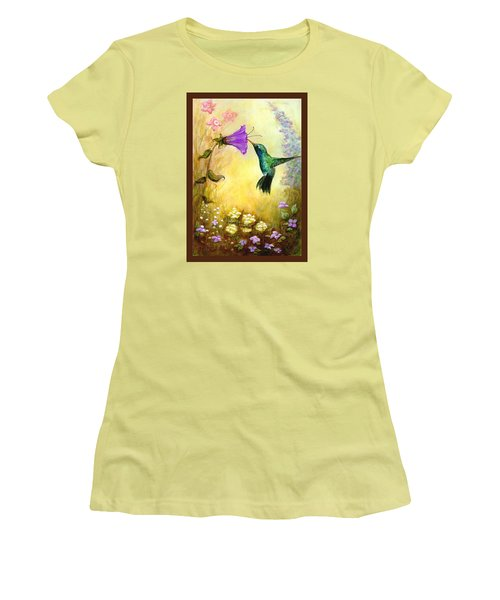 Women's T-Shirt (Junior Cut) featuring the mixed media Garden Guest In Brown by Terry Webb Harshman