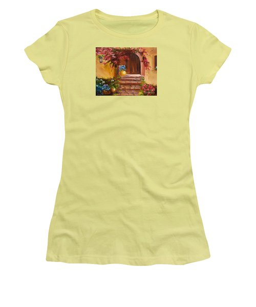 Women's T-Shirt (Junior Cut) featuring the painting Garden Of Serenity by Jenny Lee