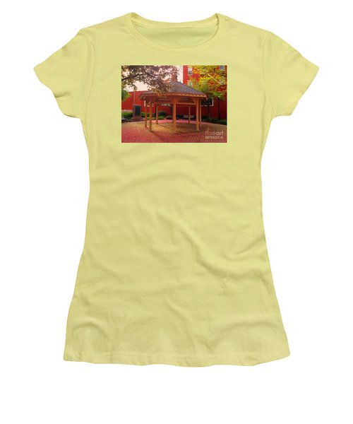 Women's T-Shirt (Junior Cut) featuring the photograph Gazebo In Pink by Becky Lupe