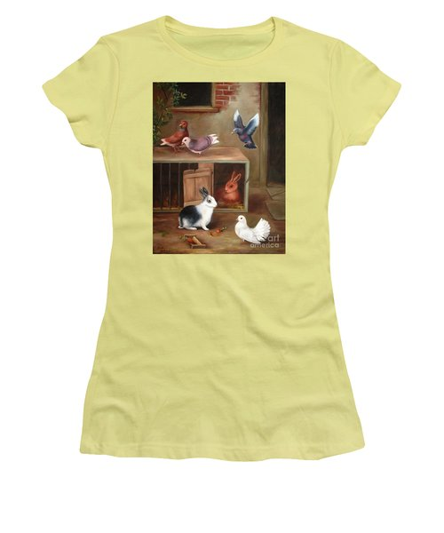 Women's T-Shirt (Junior Cut) featuring the painting Gentle Creatures by Hazel Holland