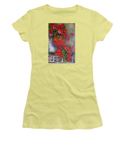 Geranium Women's T-Shirt (Junior Cut) by Katia Aho