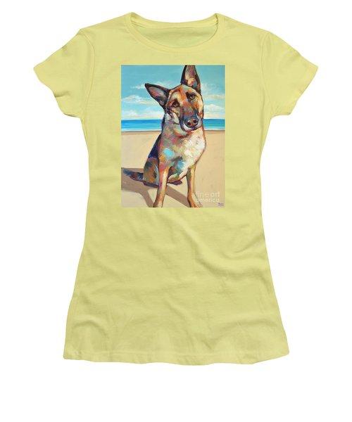 Women's T-Shirt (Junior Cut) featuring the painting German Shepard  by Robert Phelps