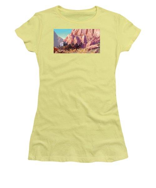 Women's T-Shirt (Junior Cut) featuring the painting Gett'en Through by Rob Corsetti
