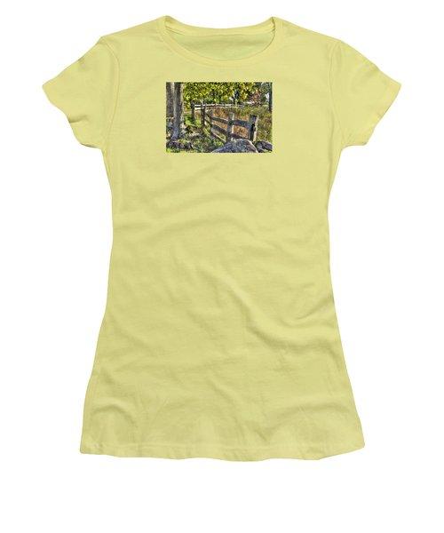 Women's T-Shirt (Junior Cut) featuring the photograph Gettysburg At Rest - Late Summer Along The J. Weikert Farm Lane by Michael Mazaika