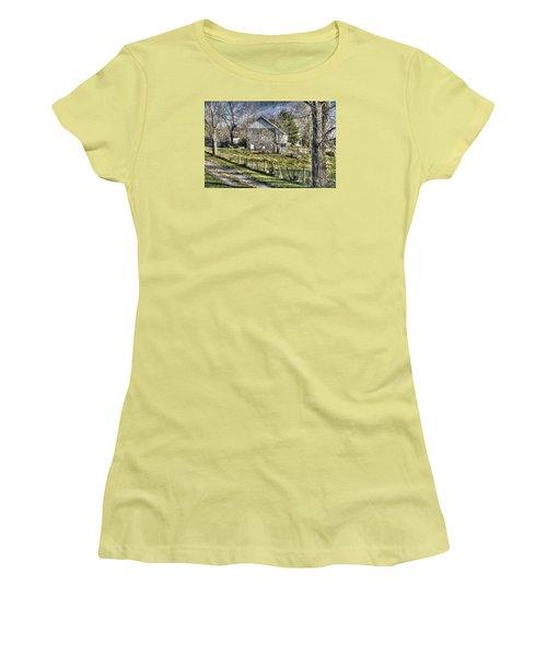 Women's T-Shirt (Junior Cut) featuring the photograph Gettysburg At Rest - Sarah Patterson Farm Field Hospital Muted by Michael Mazaika