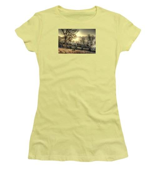 Women's T-Shirt (Junior Cut) featuring the photograph Gettysburg At Rest - Sunrise Over Northern Portion Of Little Round Top by Michael Mazaika