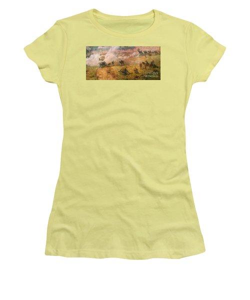 Gettysburg Cyclorama Detail One Women's T-Shirt (Junior Cut) by Randy Steele