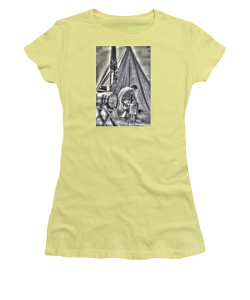Women's T-Shirt (Junior Cut) featuring the photograph Gettysburg In The Camp - Counting The Losses by Michael Mazaika