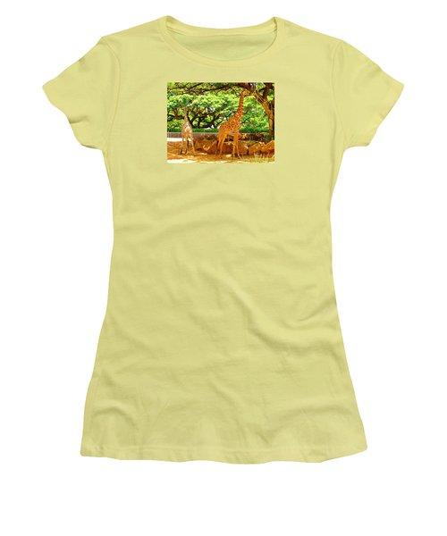 Giraffes Women's T-Shirt (Junior Cut) by Oleg Zavarzin