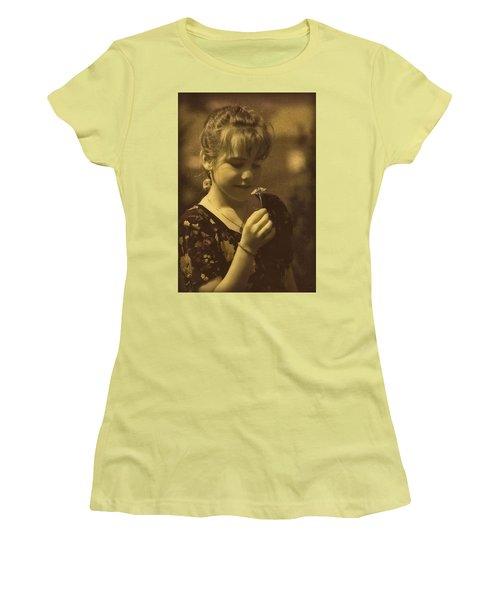 Girl With Flower Women's T-Shirt (Junior Cut)