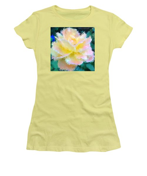 Glazed Pale Pink And Yellow Rose  Women's T-Shirt (Junior Cut) by Anna Porter