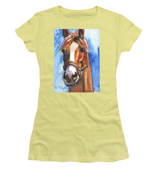 Horse Painting Of California Chrome Go Chrome Women's T-Shirt (Junior Cut) by Maria's Watercolor