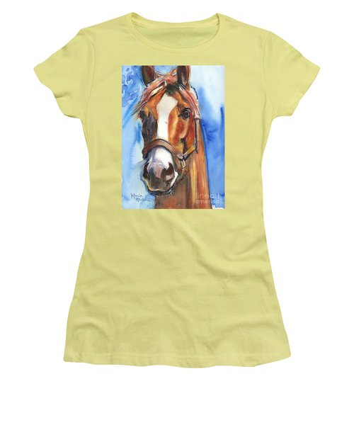 Horse Painting Of California Chrome Go Chrome Women's T-Shirt (Athletic Fit)