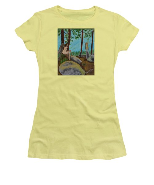 Women's T-Shirt (Junior Cut) featuring the painting God Calls His Angels by Cassie Sears