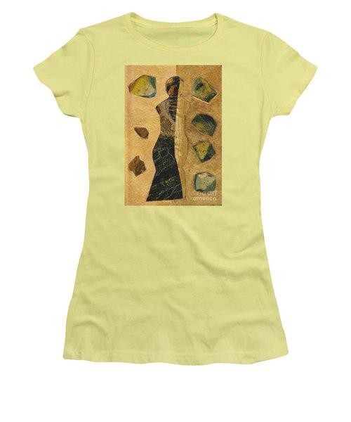 Gold Black Female Women's T-Shirt (Athletic Fit)