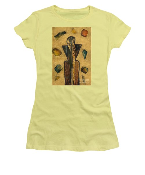 Gold Black Male Gems Women's T-Shirt (Junior Cut) by Patricia Cleasby