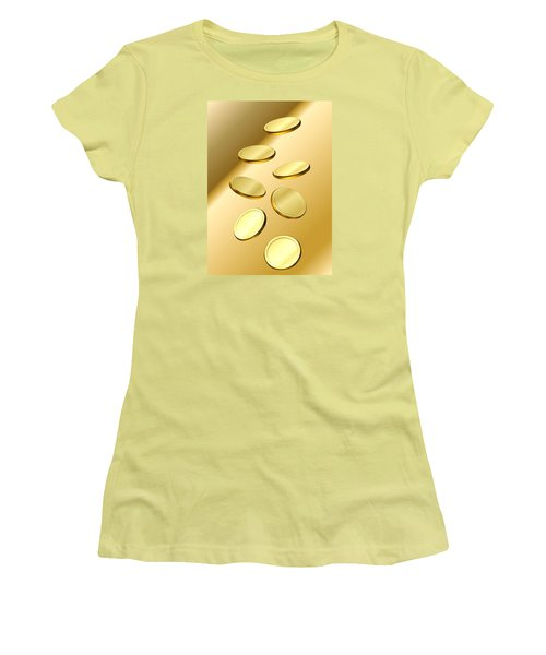 Gold Coins Women's T-Shirt (Junior Cut) by Cyril Maza