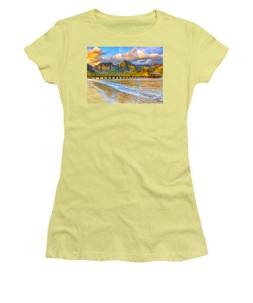 Golden Hanalei Morning Women's T-Shirt (Junior Cut) by Dominic Piperata