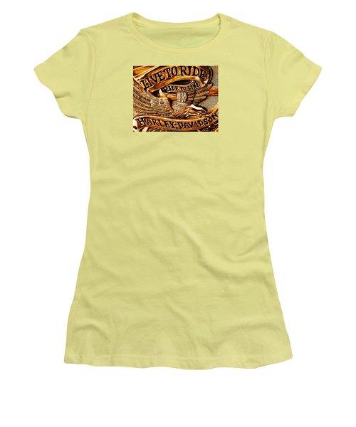 Golden Harley Davidson Logo Women's T-Shirt (Junior Cut) by Chris Berry