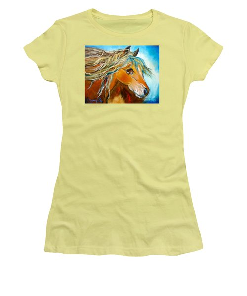 Women's T-Shirt (Junior Cut) featuring the painting Golden Horse by Jenny Lee