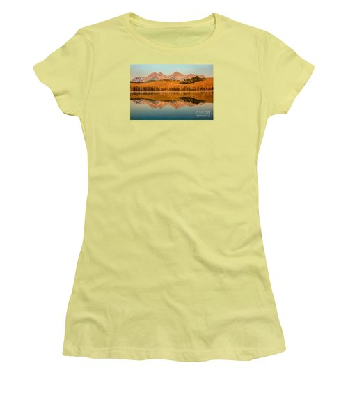 Golden Mountains  Reflection Women's T-Shirt (Athletic Fit)