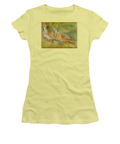Golden Pigeons Women's T-Shirt (Junior Cut) by Anna Yurasovsky