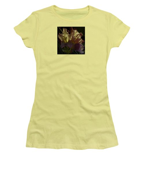 Golden Reserve Women's T-Shirt (Junior Cut) by Jean OKeeffe Macro Abundance Art