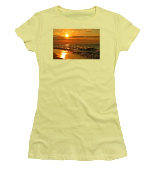 Golden Sunrise Colors With Waves And Horizon Clouds On Navarre Beach Women's T-Shirt (Junior Cut) by Jeff at JSJ Photography