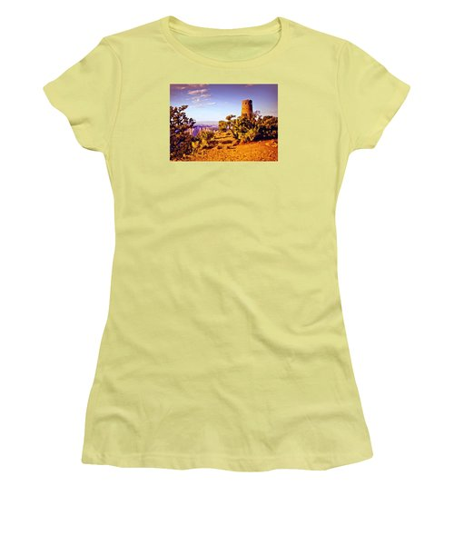 Women's T-Shirt (Junior Cut) featuring the painting Grand Canyon National Park Golden Hour Watchtower by Bob and Nadine Johnston