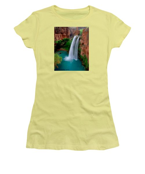 Women's T-Shirt (Junior Cut) featuring the painting Grand Canyon Waterfalls by Bruce Nutting