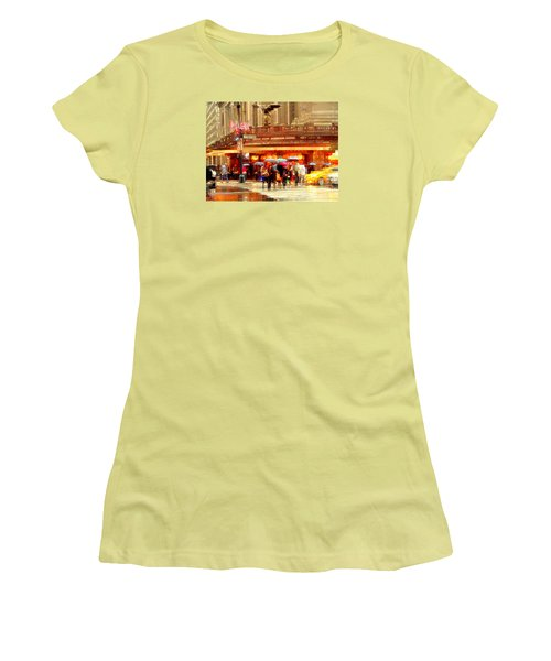 Grand Central Station In The Rain - New York Women's T-Shirt (Junior Cut) by Miriam Danar