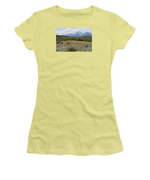 Grand Tetons From Willow Flats Women's T-Shirt (Junior Cut) by Belinda Greb