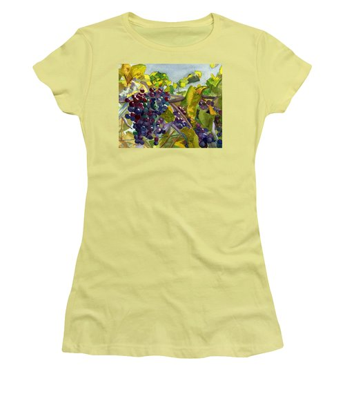 Women's T-Shirt (Athletic Fit) featuring the painting Grapevines by Lynne Reichhart