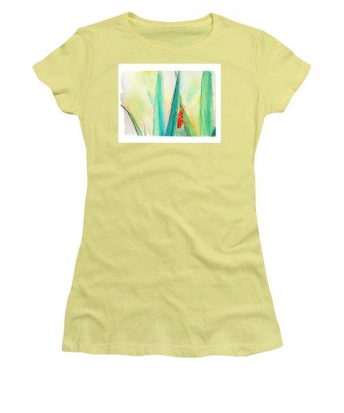 Women's T-Shirt (Junior Cut) featuring the painting Grasshopper by C Sitton