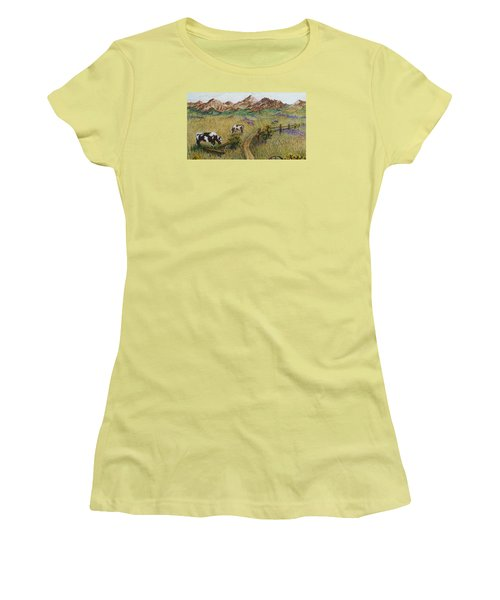 Grazing Cows Women's T-Shirt (Junior Cut) by Katherine Young-Beck