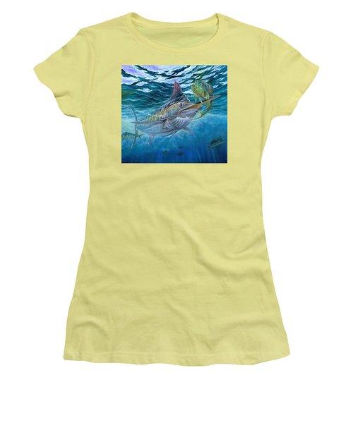 Great Blue And Mahi Mahi Underwater Women's T-Shirt (Athletic Fit)