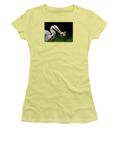 Great Blue Heron And The Catfish Women's T-Shirt (Junior Cut) by Kathy Baccari