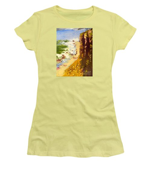 Women's T-Shirt (Junior Cut) featuring the painting Great Ocean Road by Pamela  Meredith