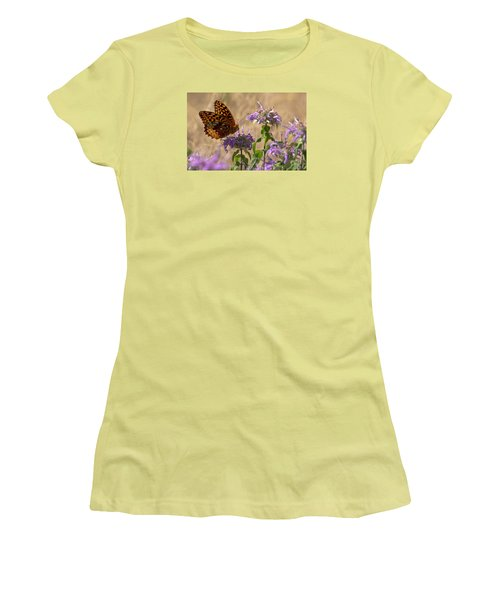 Great Spangled On Bee Balm Women's T-Shirt (Junior Cut) by Shelly Gunderson