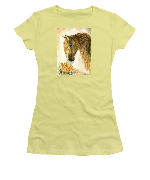 Greeting A Sunflower Women's T-Shirt (Junior Cut) by Angela Davies