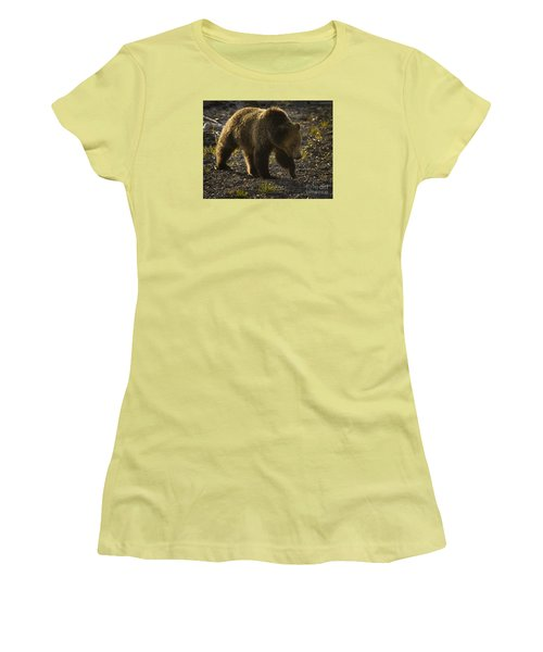 Grizzly Bear-signed-#4435 Women's T-Shirt (Junior Cut) by J L Woody Wooden