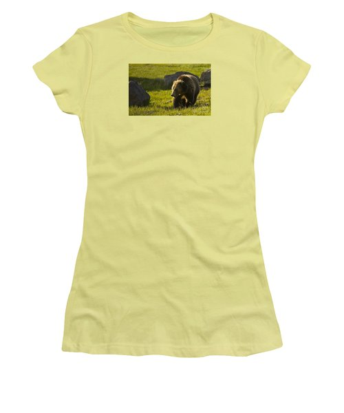 Grizzly Bear-signed-#4545 Women's T-Shirt (Junior Cut) by J L Woody Wooden