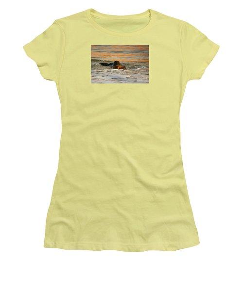 Women's T-Shirt (Junior Cut) featuring the photograph La Jolla Seal Sunset by John F Tsumas