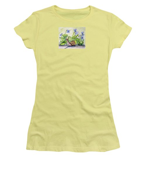 Women's T-Shirt (Junior Cut) featuring the painting Harold In The Violets by Angela Davies