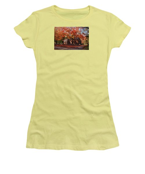 Women's T-Shirt (Junior Cut) featuring the photograph Hartwell Tavern Under Canopy Of Fall Foliage by Jeff Folger