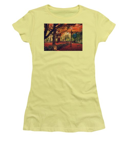 Women's T-Shirt (Junior Cut) featuring the photograph Hartwell Tavern Under Orange Fall Foliage by Jeff Folger